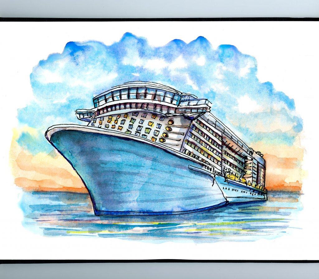 Cruise Ship Sunset Watercolor Illustration Sketchbook Detail