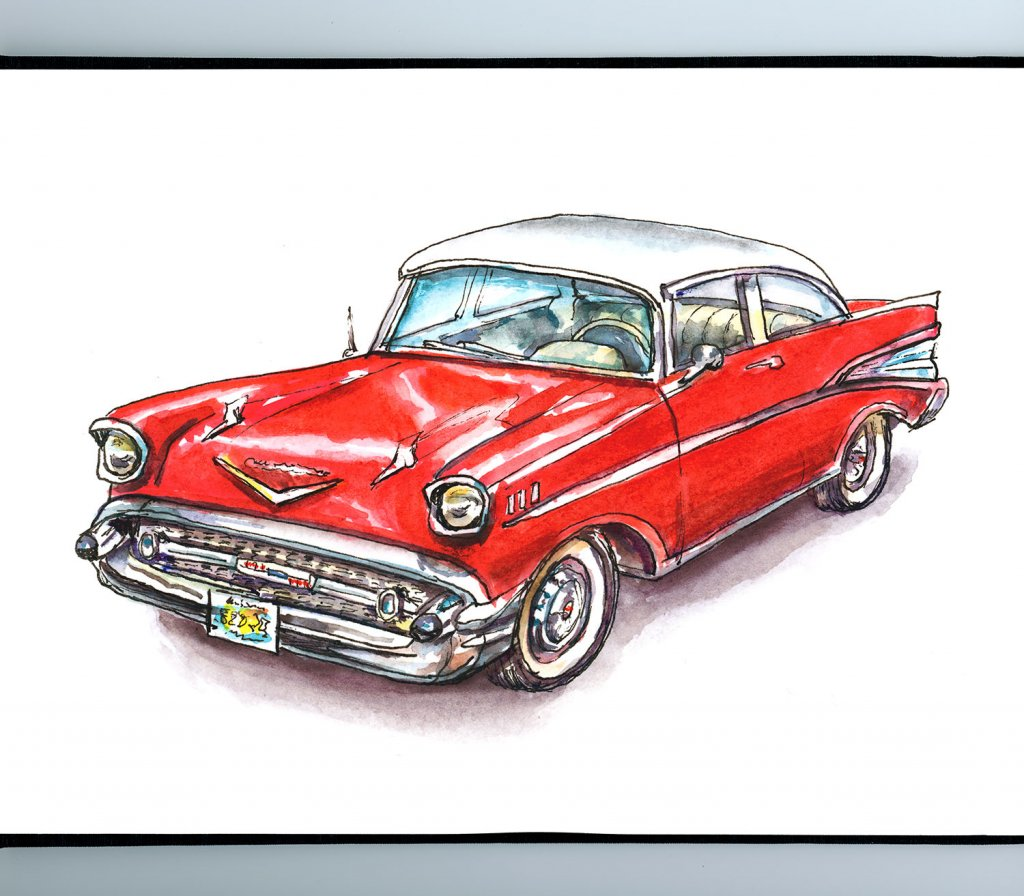 57 Chevy Classic Car Watercolor Illustration Sketchbook Detail