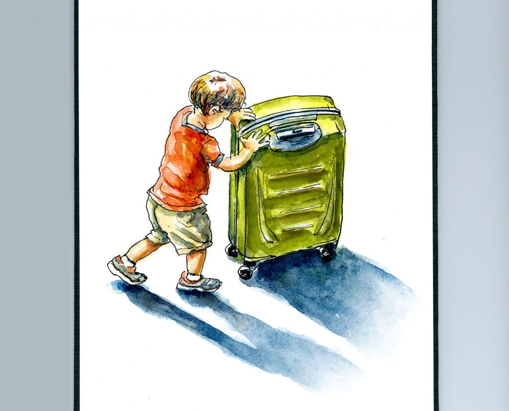 Little Boy Suitcase Travel Watercolor Illustration Sketchbook Detail