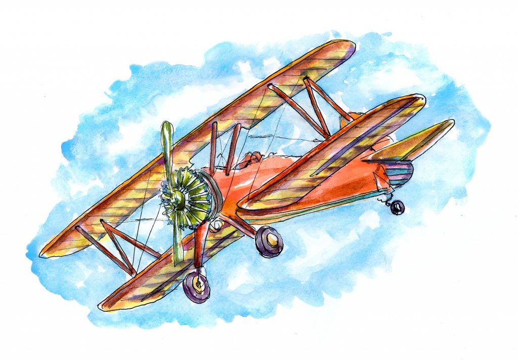 Vintage Airplane Watercolor Illustration
