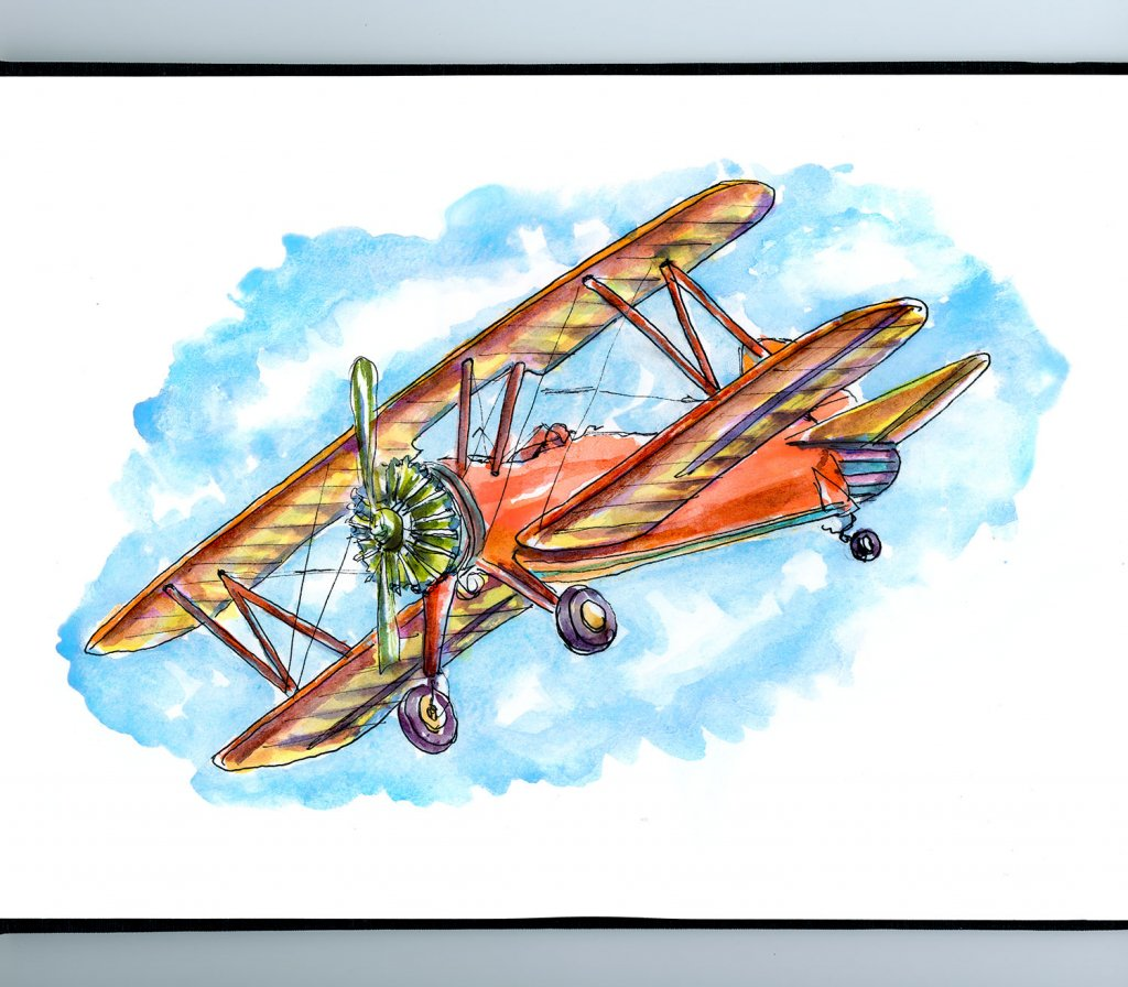 Vintage Airplane Watercolor Illustration Sketchbook Detail