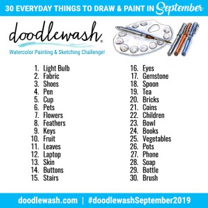 Doodlewash Drawing Prompts And Watercolor Prompts September 2019