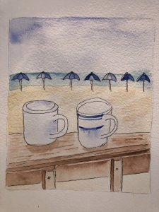 Today's beach prompt. Coffee on the beach in Bradenton Beach, FL last winter with my husband. E71E