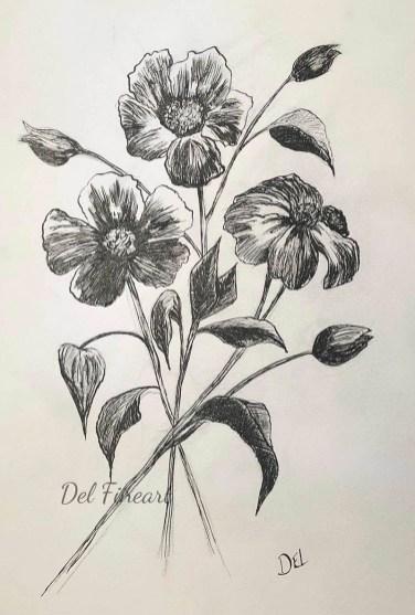 Flower ink drawing by Del Fineart