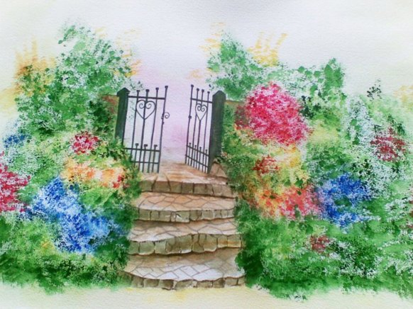Garden Gate Watercolor Painting by Jerson Antao