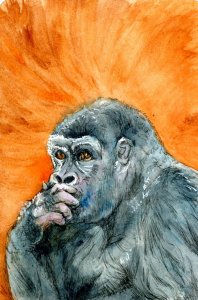 Gorilla in Thinker Pose-Zebra Zensations Technical Pen-QoR watercolor on Hahnemühle Cold Pressed Wa