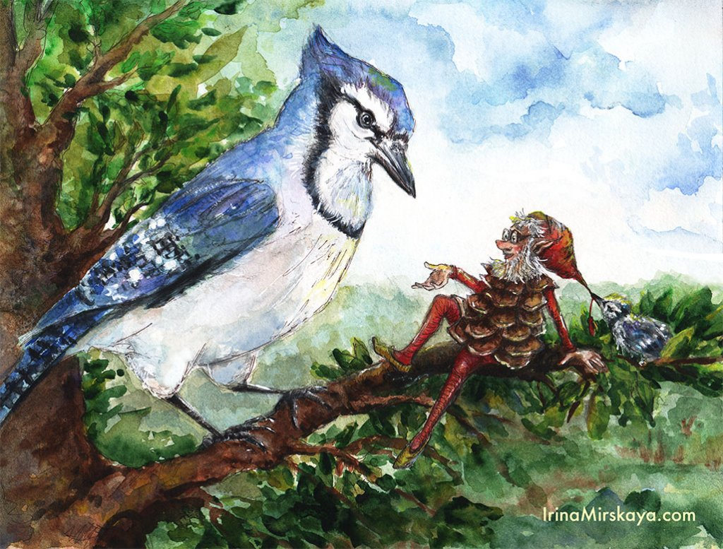 Bird Fantasy Watercolor Painting by Irina Mirskaya