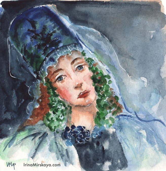 Woman Wearing Hat Watercolor Painting by Irina Mirskaya