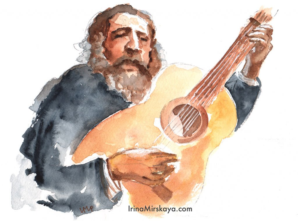 Man Playing Guitar Watercolor Painting by Irina Mirskaya
