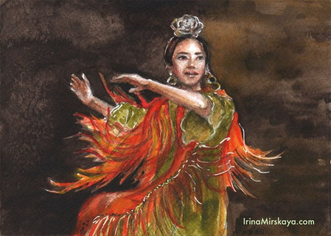 Woman Dancing Ethnic Costume Watercolor Painting by Irina Mirskaya