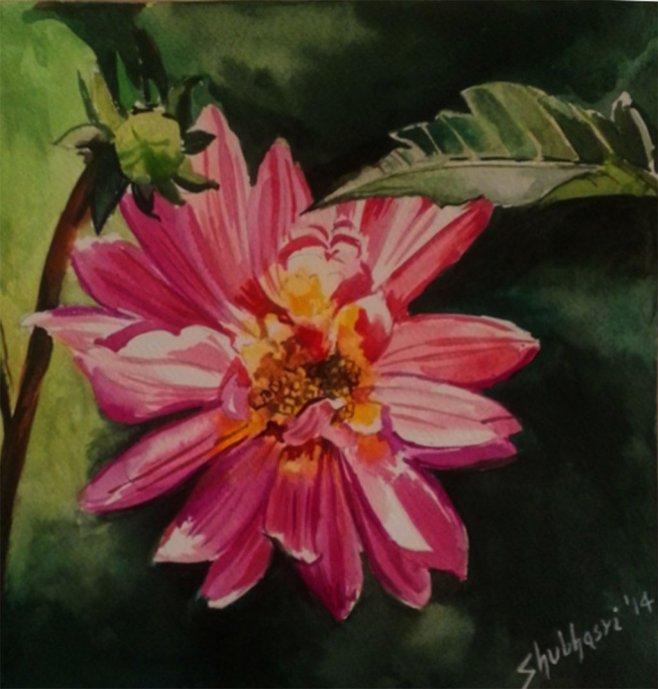 Bloom Watercolor Painting by Shubhasri Dasgupta