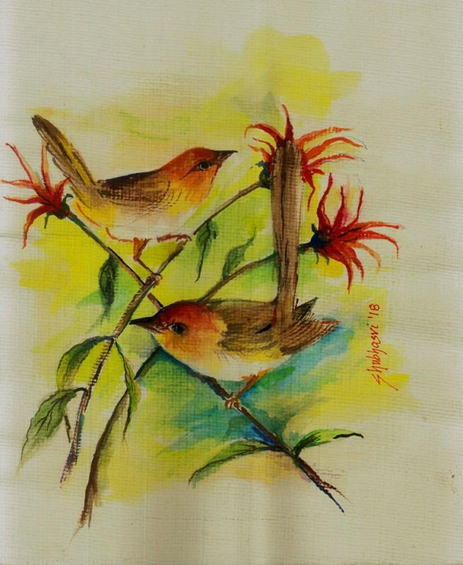 Tailor birds watercolor by Shubhasri Dasgupta