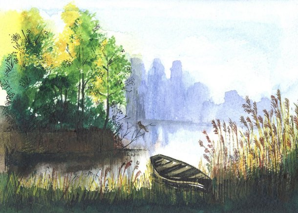 Small Boat Watercolor by Jerson Antao