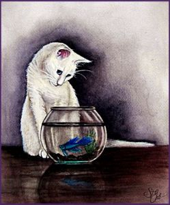 """""""Temptation"""" Original watercolor painting by Sandra T. Gale, featuring a white house cat"""