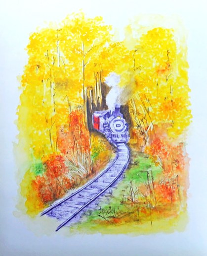 Train Watercolor Painting by Jerson Antao