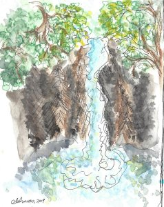 For Day 26, I painted a waterfall in the Columbia River Gorge. WWM_Day 26
