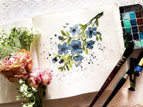 Watercolor floral painting by Kratika Agarwal