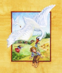 """Illustration for a Russian folk tale """"Geese-swans"""" geese_swans"""