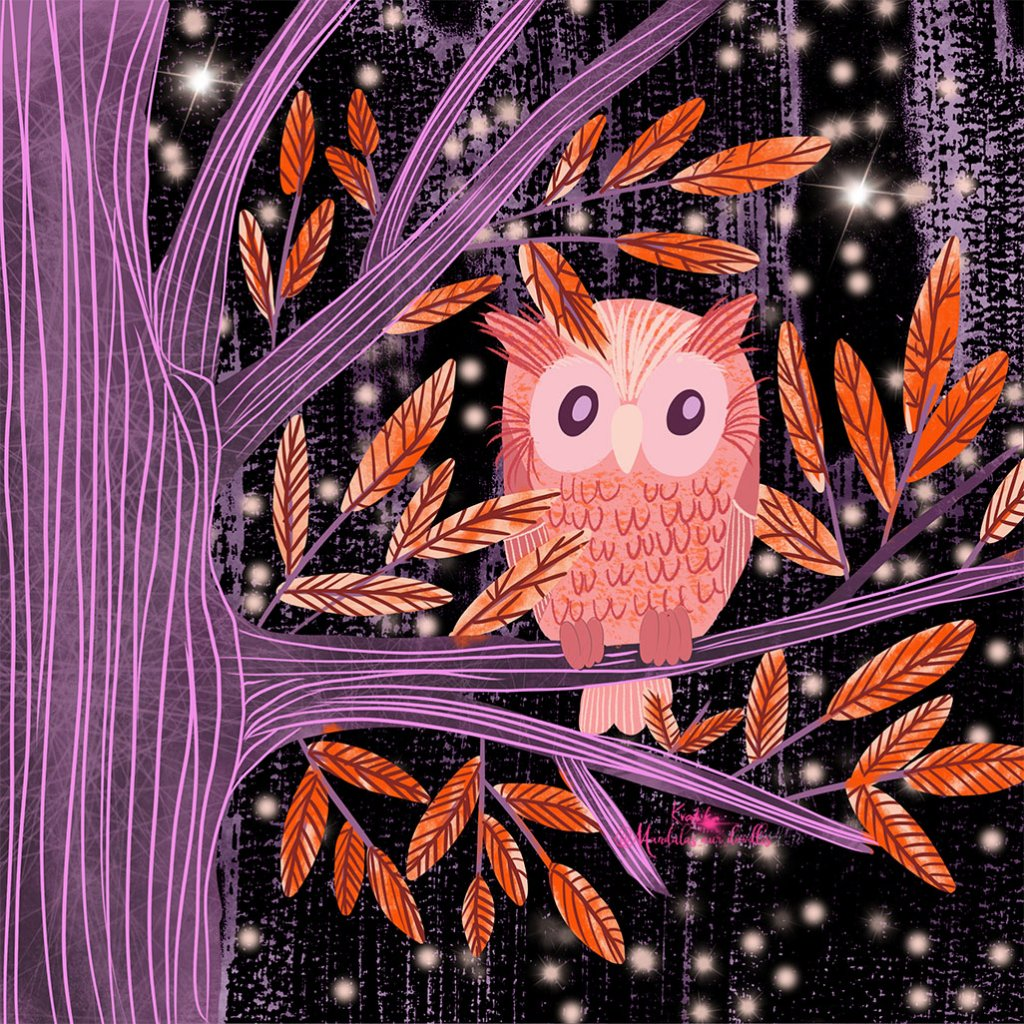 iPad Illustration of Owl In A Tree