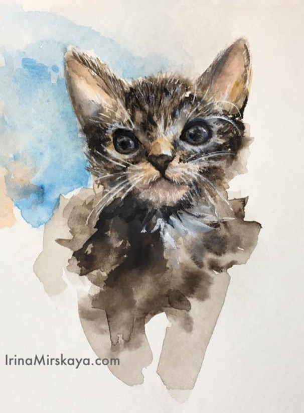 Kitten Watercolor Painting by Irina Mirskaya