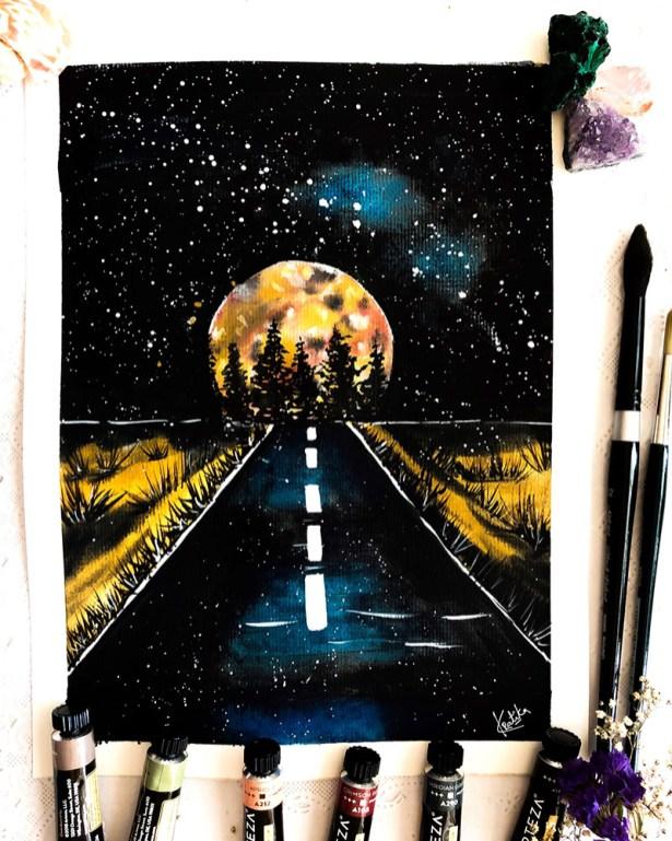 Moonscape Watercolor Painting by Kratika Agarwal