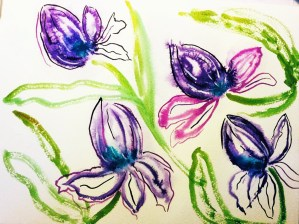 Purple tulips, coming towards the end of their life… As suggested by a YouTube tutorial @by