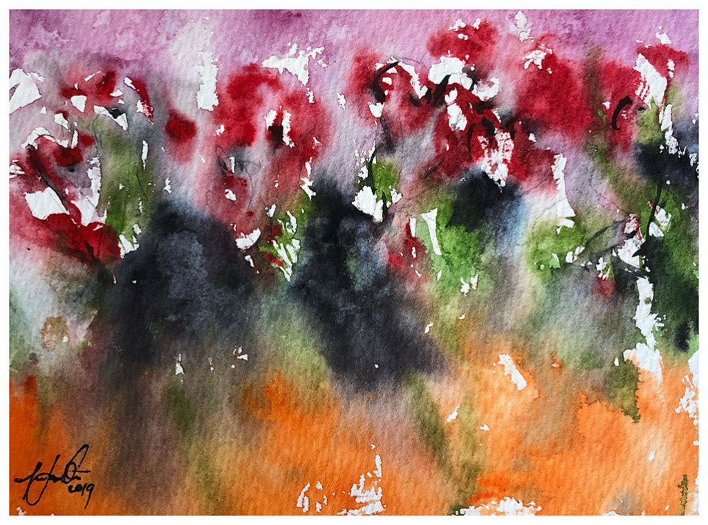 Abstract Flowers Watercolour Painting by Tony White