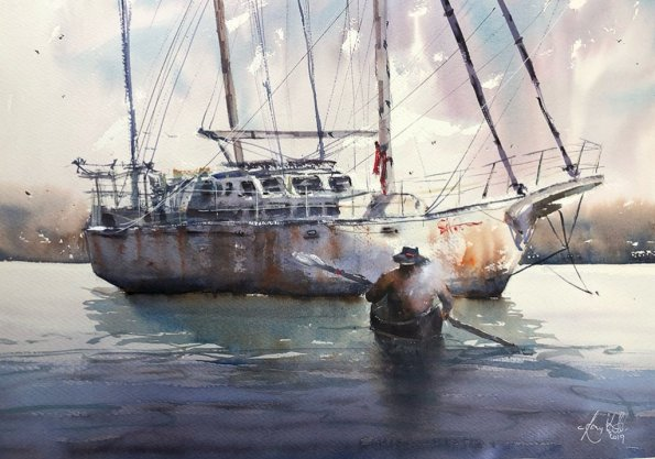 Boats Watercolour Painting by Tony White