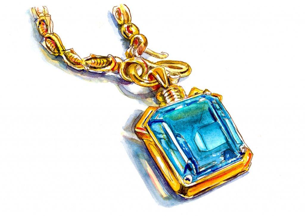 Gemstone Jewelry Watercolor Illustration