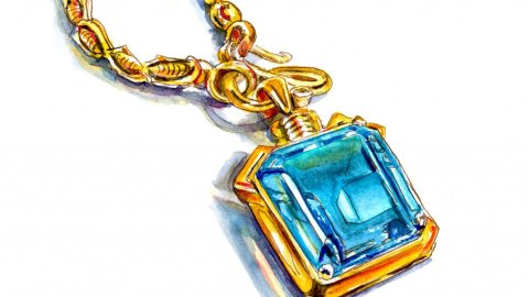 Gemstone Jewelry Watercolor Illustration