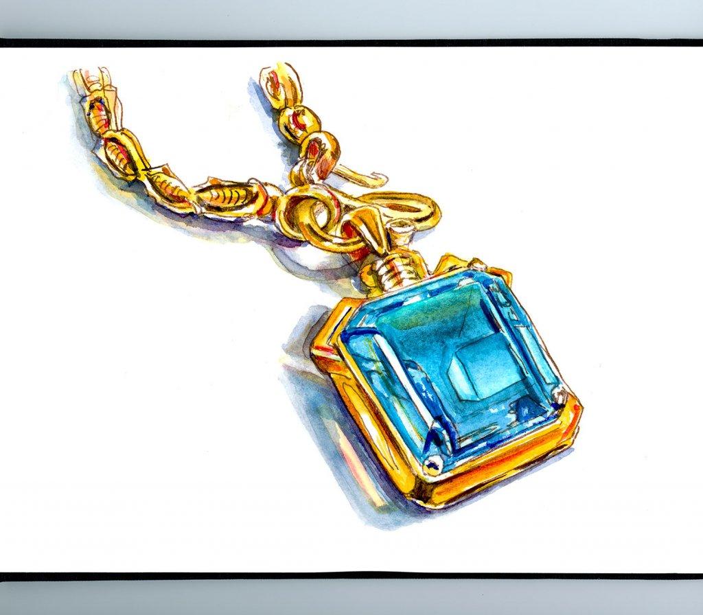 Gemstone Jewelry Watercolor Illustration Sketchbook Detail