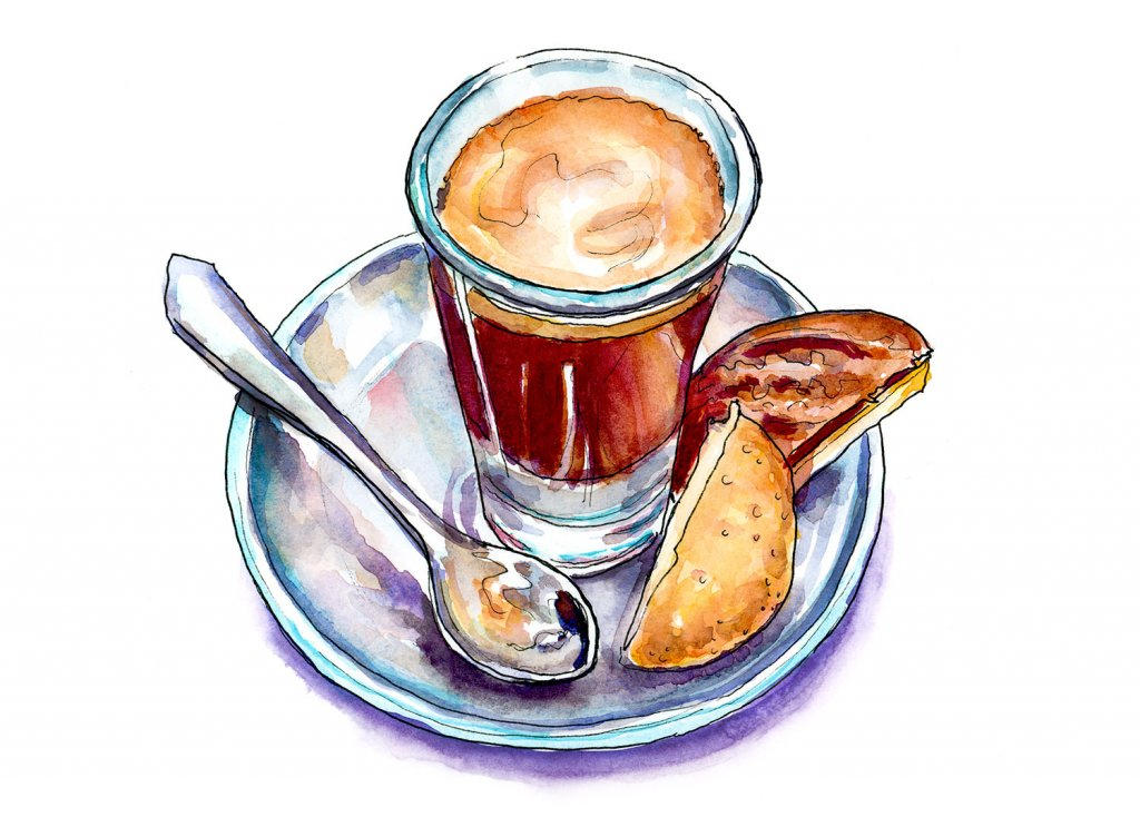 Coffee Cup Spoon Biscuits Illustration