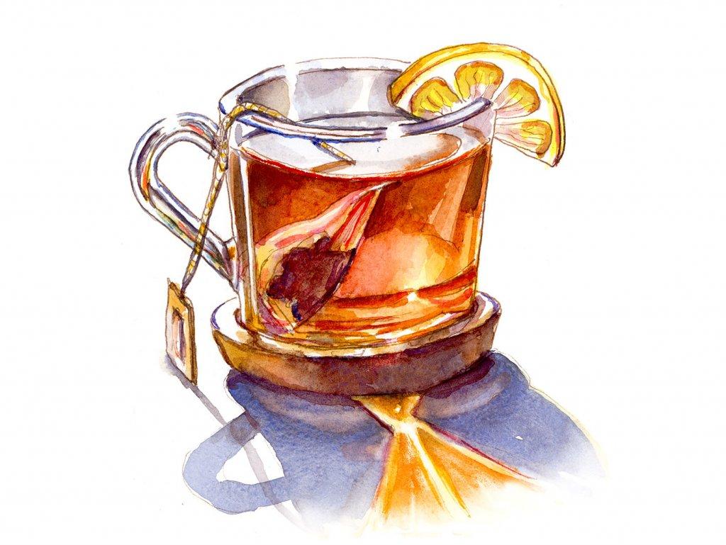 Tea With Lemon Watercolor Illustration