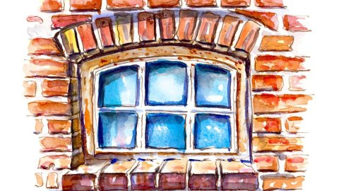 Brick Window Watercolor Illustration