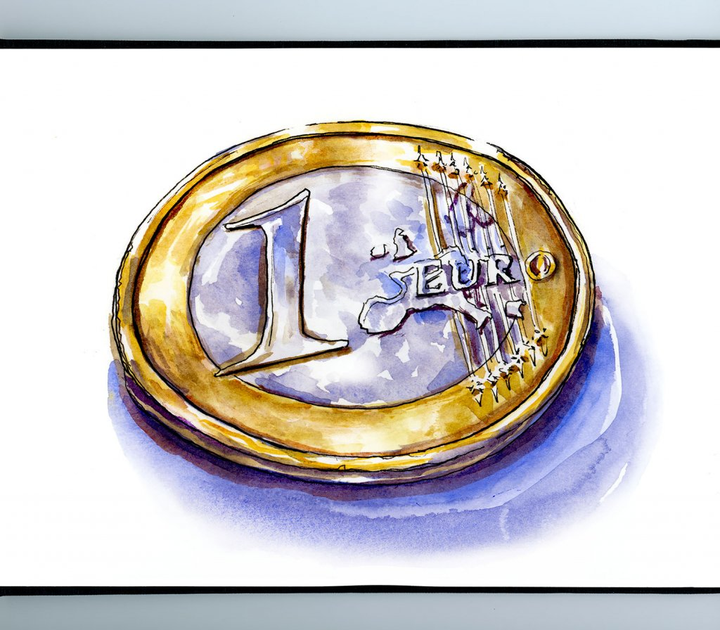 Euro Coin Watercolor Illustration Sketchbook Detail