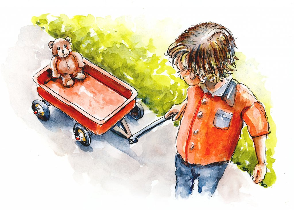 Little Boy Wagon Teddy Bear Watercolor Illustration