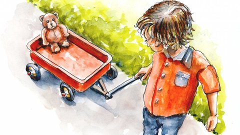 Little Boy Wagon Teddy Bear Watercolor Illustration