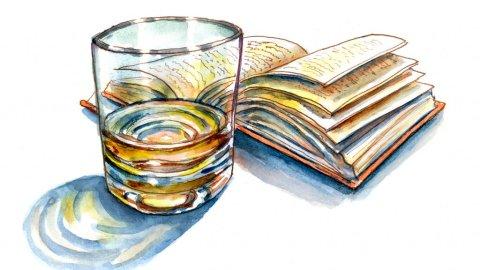 Light Night Reading Book Drink Watercolor Illustration