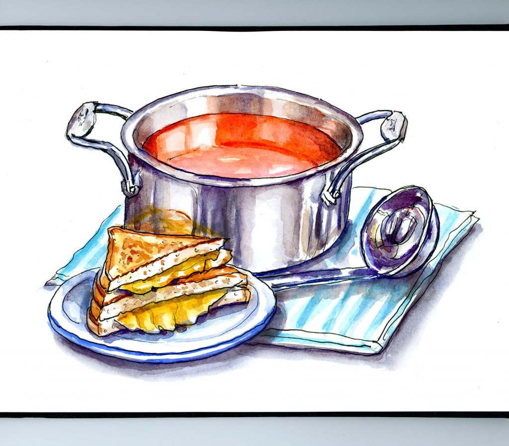 Tomato Soup Grilled Cheese Watercolor Illustration Sketchbook Detail