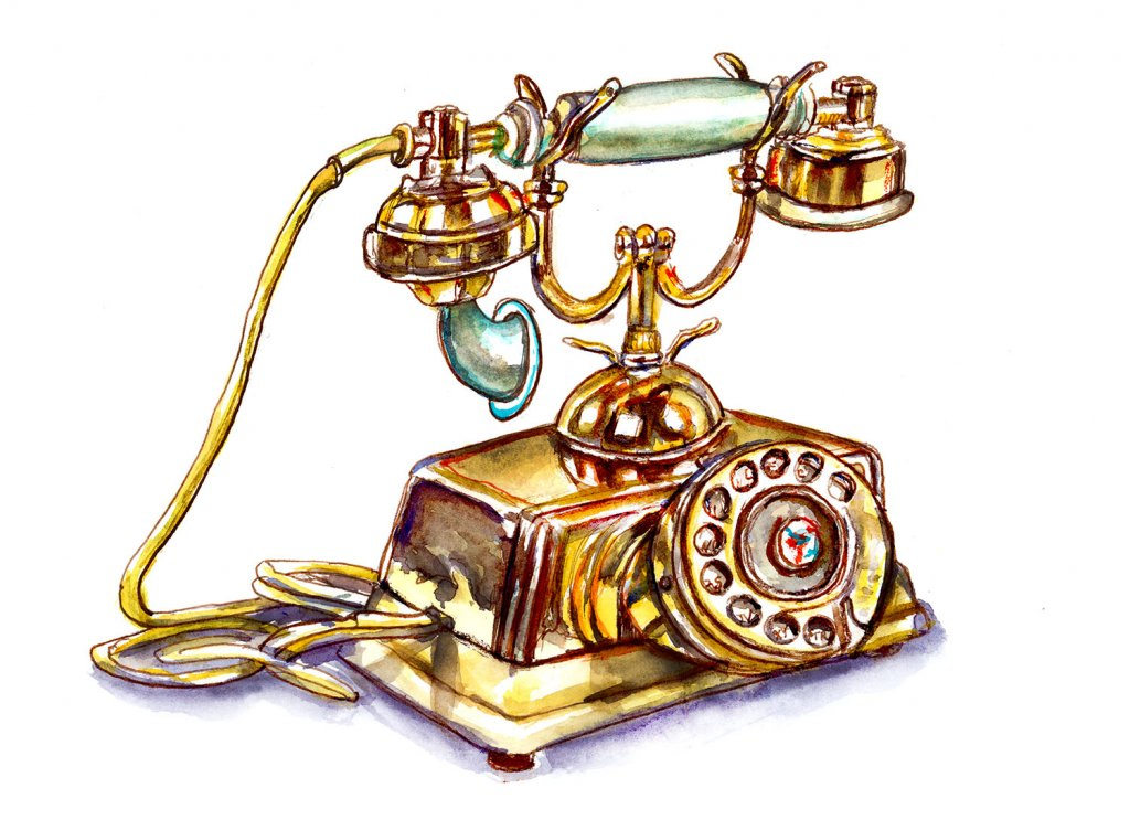 Vintage Antique Phone Watercolor Illustration