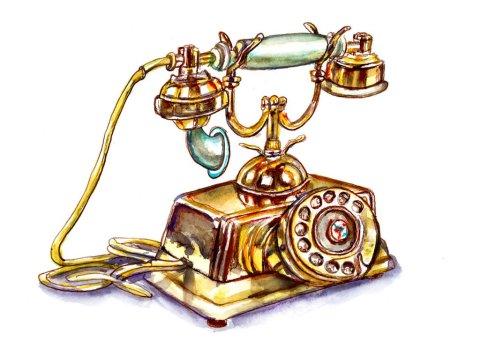 Vintage Antique Phone Watercolor Illustration