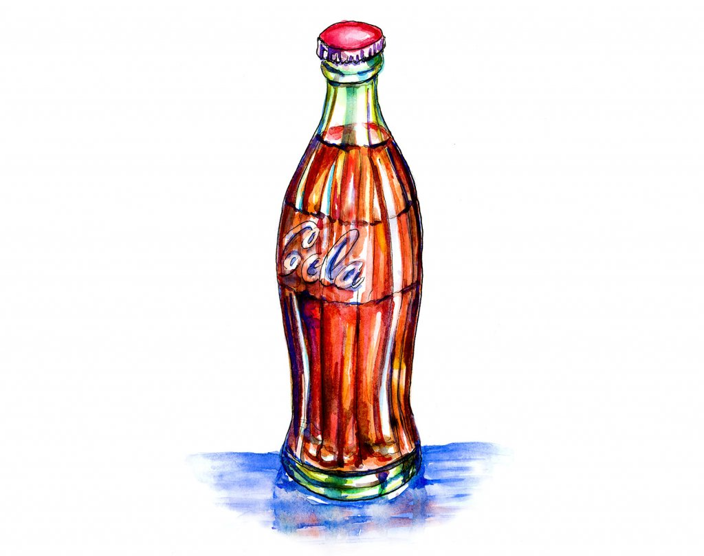 Cola Bottle Watercolor Illustration