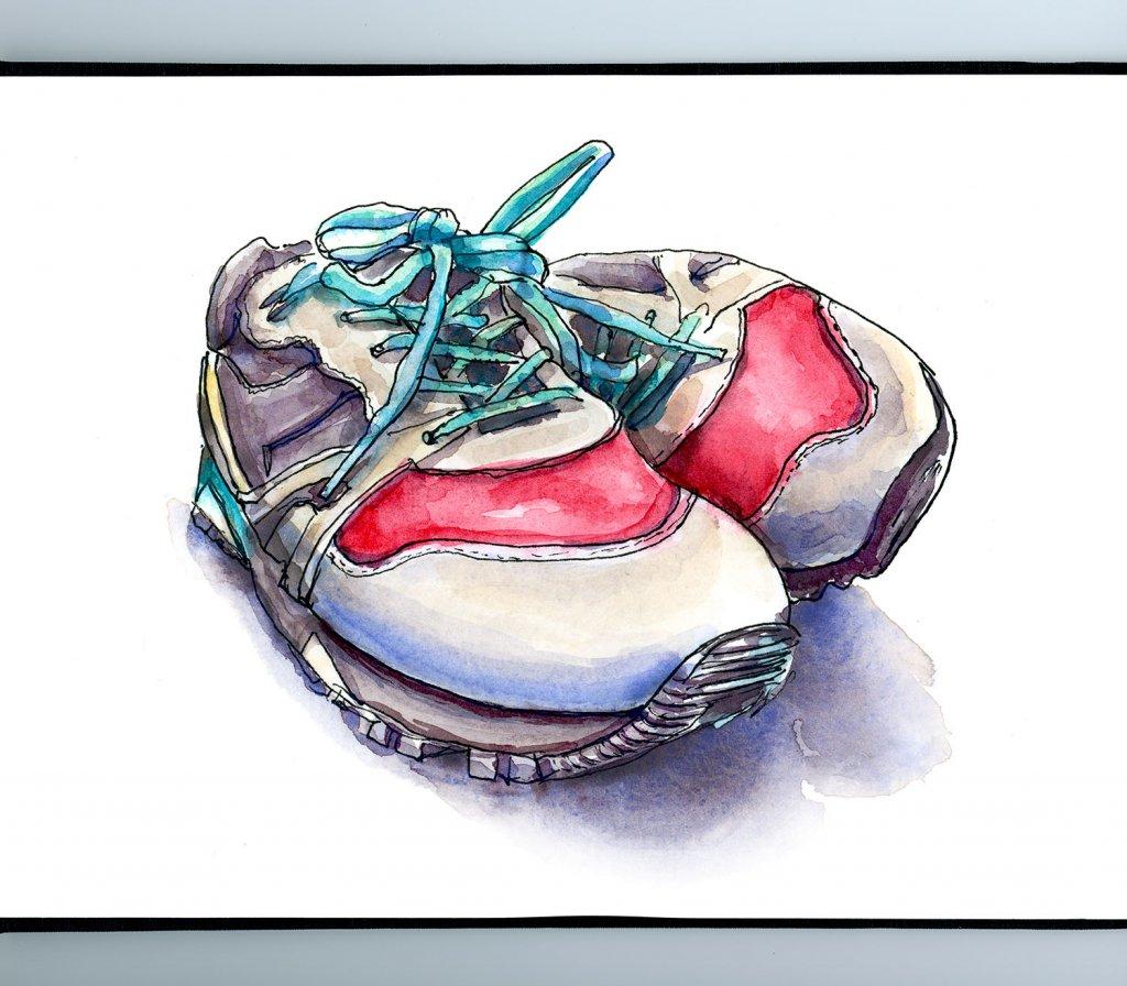Sneakers Shoes Watercolor Illustration Sketchbook Detail