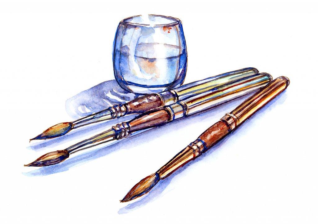 Travel Brushes Watercolor Illustration