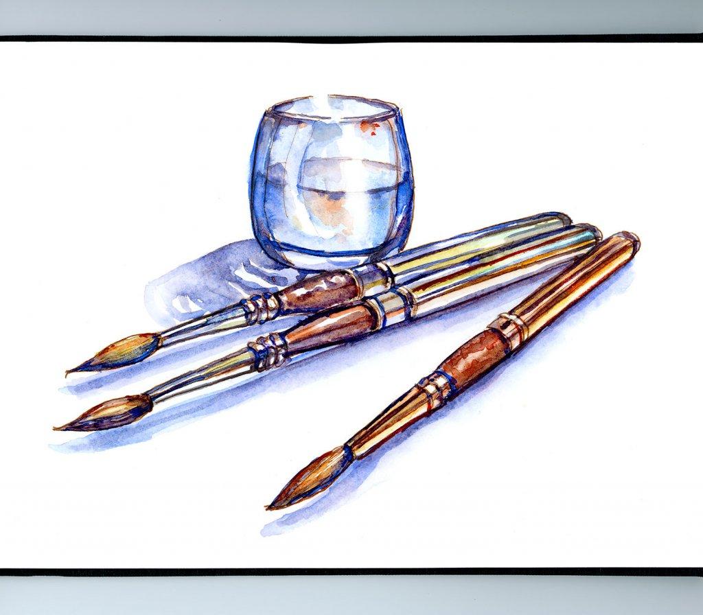 Travel Brushes Watercolor Illustration Sketchbook Detail