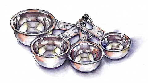 Metal Measuring Cups Watercolor Illustration