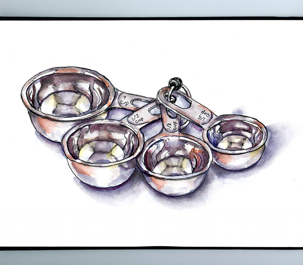 Metal Measuring Cups Watercolor Illustration Sketchbook Detail