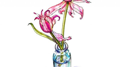 Wilting Flowers Watercolor Illustration