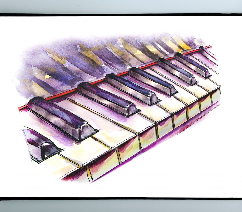 Piano Keys Watercolor Illustration Sketchbook Detail
