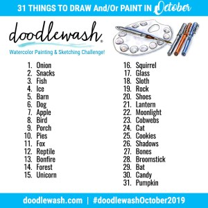 Doodlewash October 2019 Inktober Watercolor Sketching Drawing Prompts